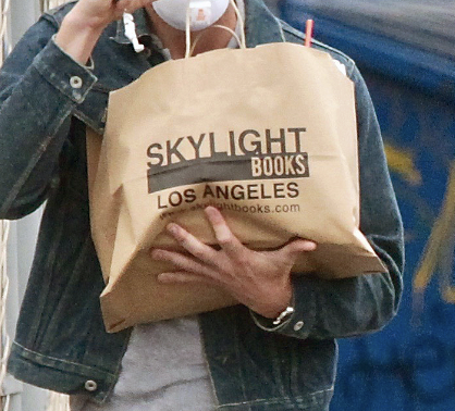 "a closeup of the brown paper bag of books that says ""Skylight Books Los Angeles"" on it"