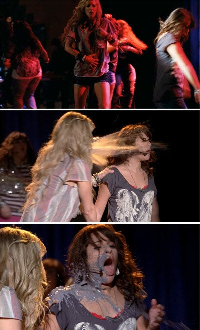 The New Directions perform a song and Britney throws up on Rachel