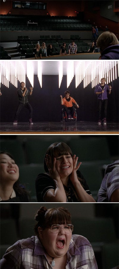 Artie, Sam, and Mike sing onstage while the glee girls watch enthusiastically