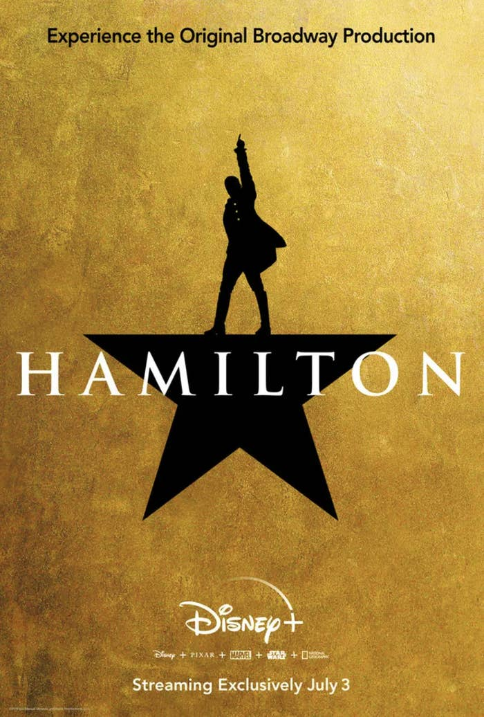 A gold poster advertising Hamilton coming to Disney+