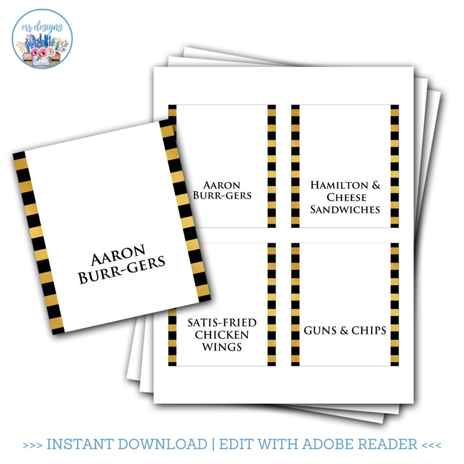 Downloads for Aaron Burr-gers, Satis-fried chicken wings, Guns and Chips, and Hamilton & Cheese Sandwiches