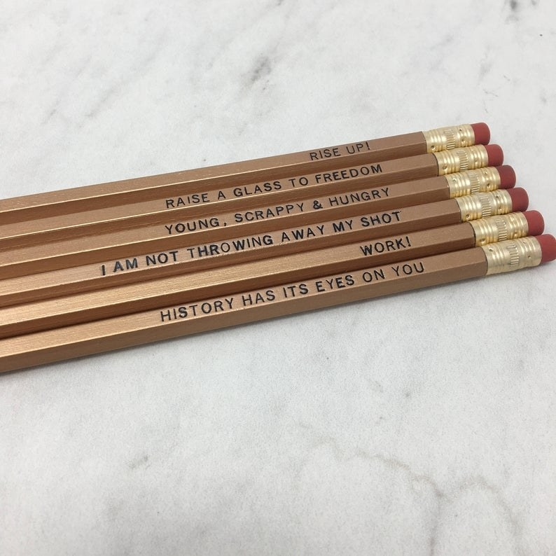 A set of pencils with Hamilton quotes