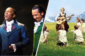 to the left: lin manuel miranda in hamilton, to the right: the von trapps and maria in the sound of music