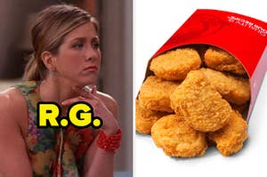 Rachel Green thinking and Wendy's chicken nuggets