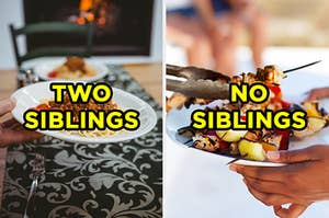 "On the left, someone holds a bowl full of spaghetti with meat sauce and ""two siblings"" is typed on top, and on the right, metal tongs place kebabs on a plate someone is holding and ""no siblings"" is typed on top"