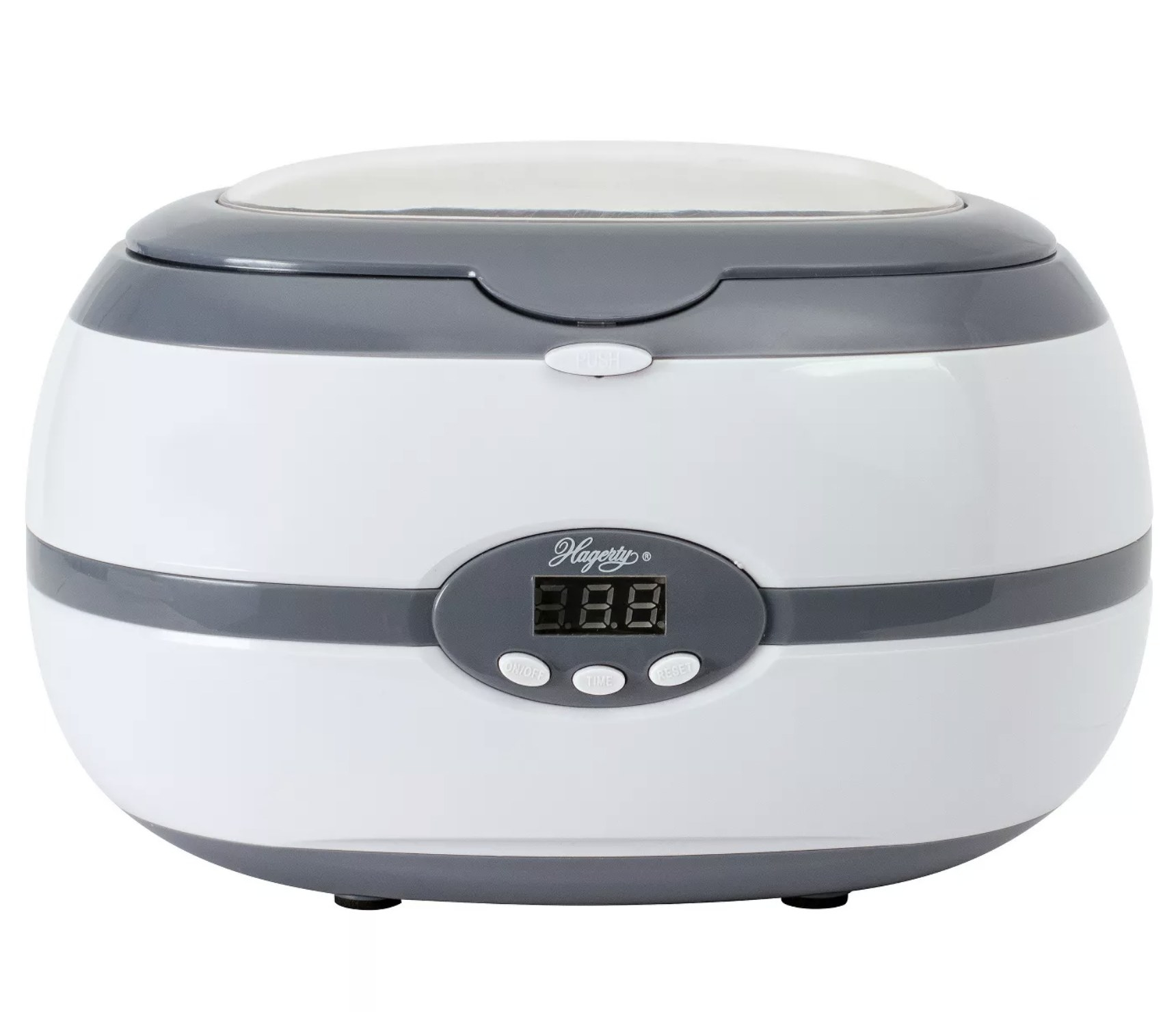 A white plastic jewelry cleaning machine with gray accents and a small digital screen with buttons