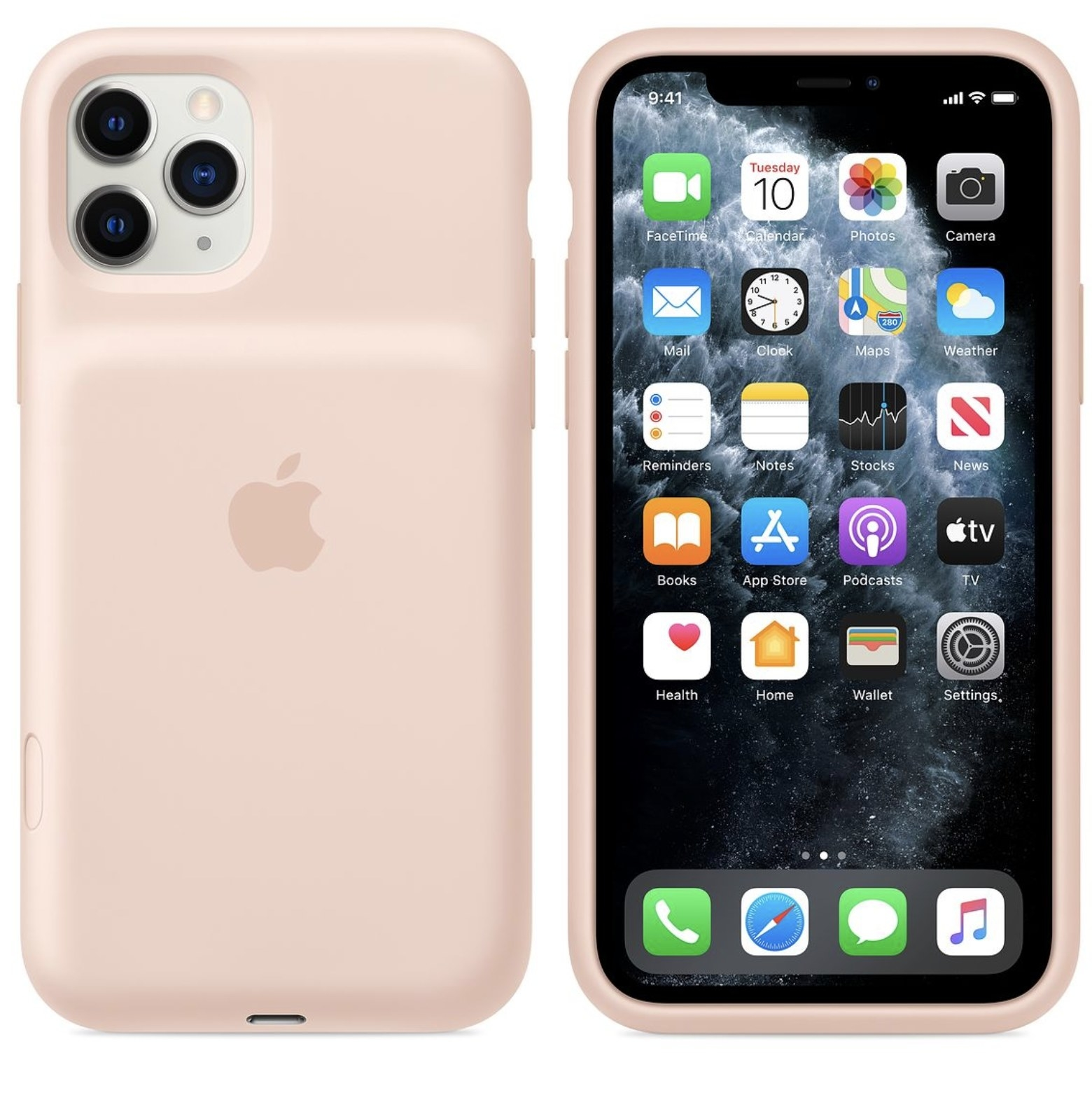 Front and back views of a light pink phone charger case with an iPhone inside