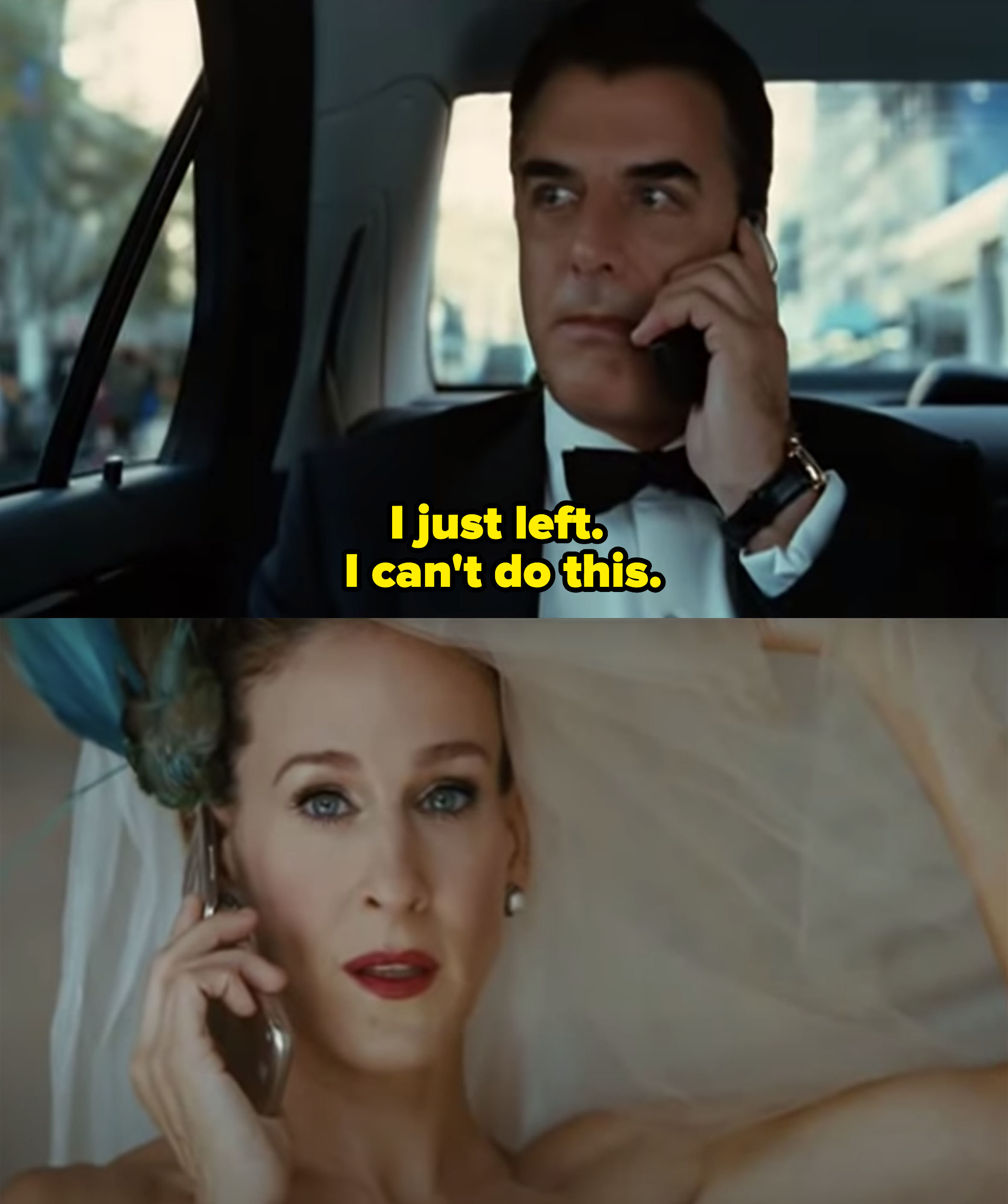 Big on the phone after the wedding to Carrie is called off