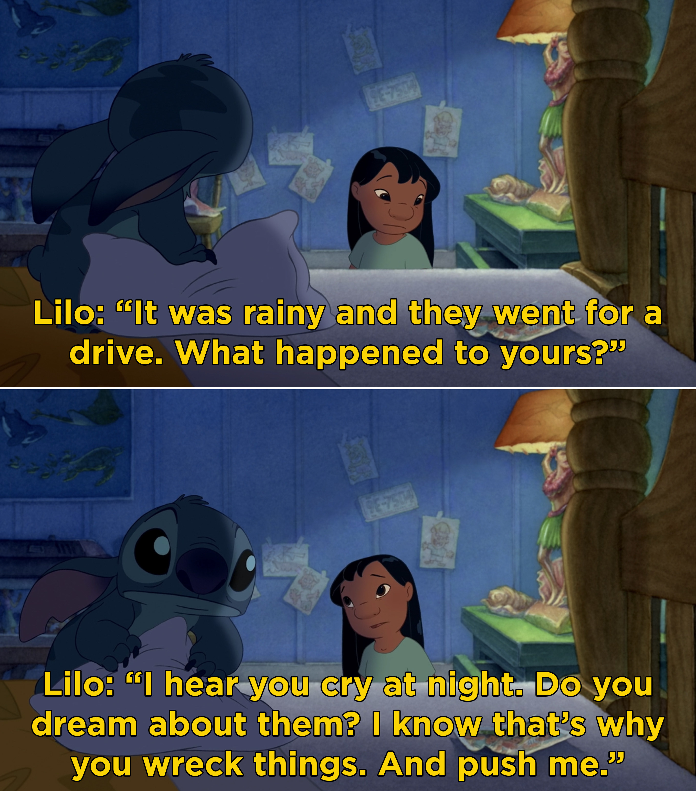 Lilo telling Stitch that her parents died while driving in the rain and that she understands why he is sad all the time