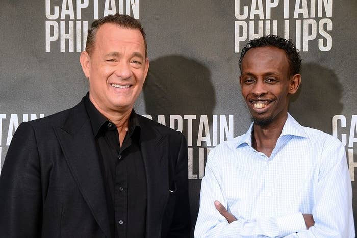Tom Hanks and Barkhad Abdi at the Captain Phillips film premiere