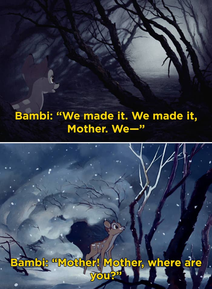 """Bambi in the woods saying, """"Mother! Mother, where are you?"""""""