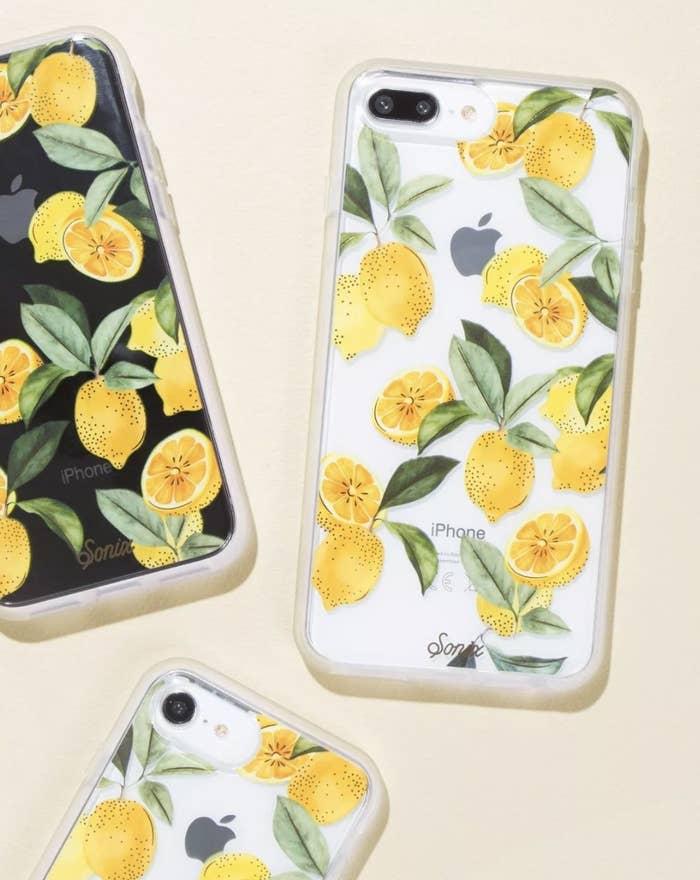 A transparent case with lemon print