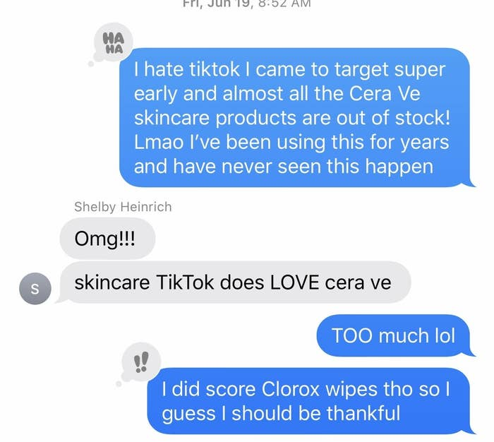 Text message screenshot explaining that Target is out of Cera Ve products.