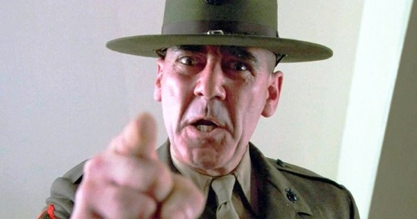 R. Lee Ermey angrily pointing at the camera in a scene from Full Metal Jacket