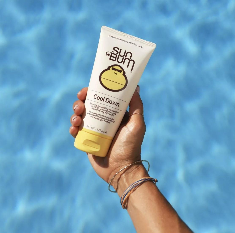 A bottle of Sun Bum lotion