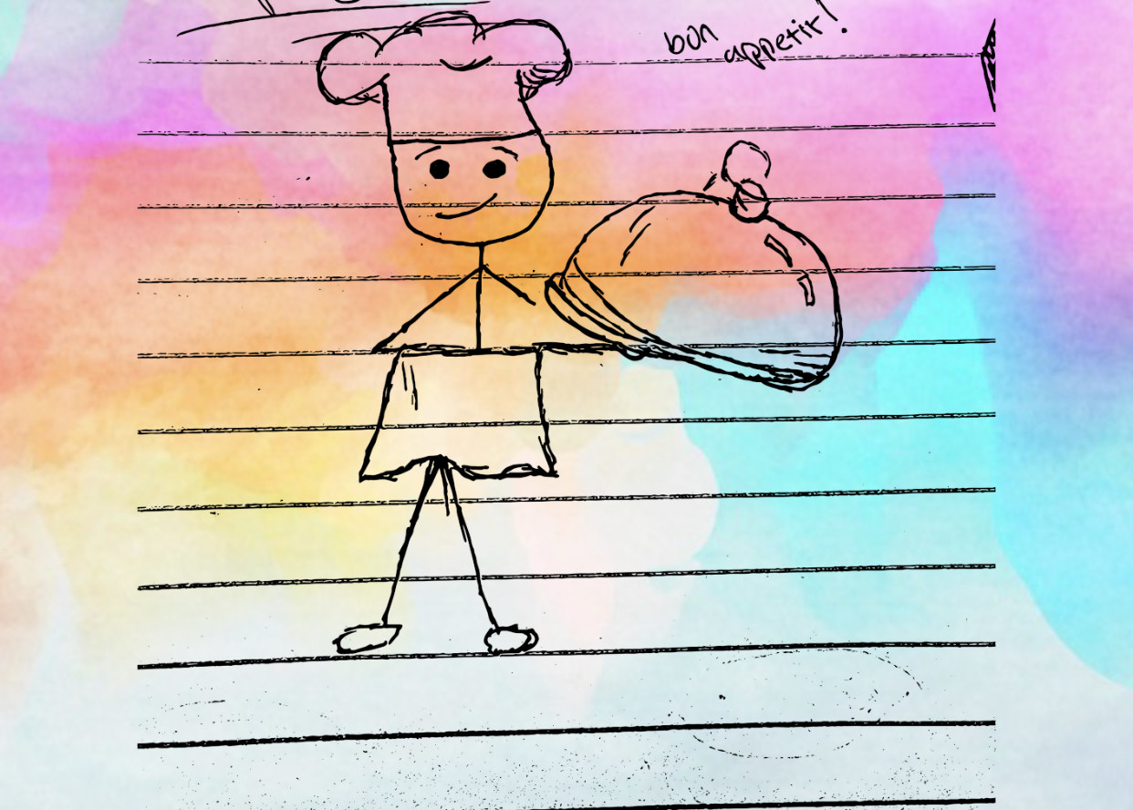 """Drawing of a chef saying """"bon appetit!"""""""