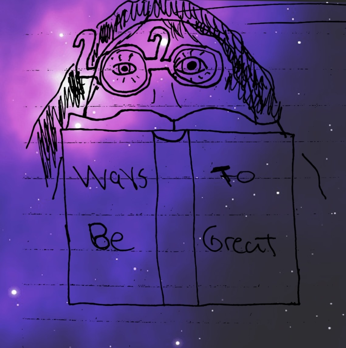"""Drawing of a person reading a book called """"Ways To Be Great"""""""