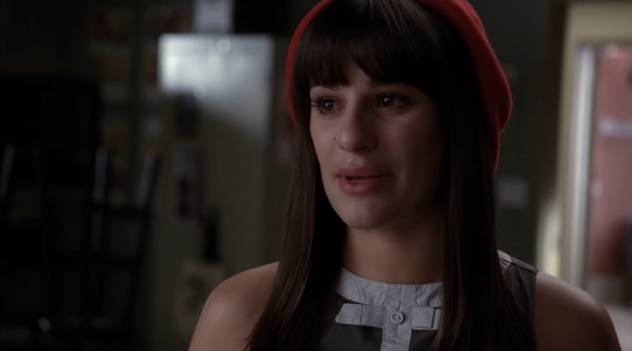 Rachel tearfully telling the glee club members she stuffed the ballot box.