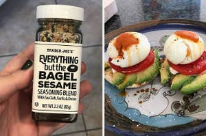 Side by side of Trader Joe's Everything But the Bagel Seasoning and poached eggs on an English muffin