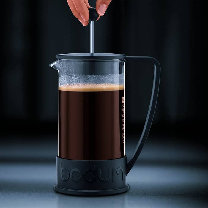 A french press full of coffee