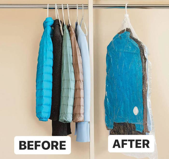 A before and after showing jackets in and out of the compression bag