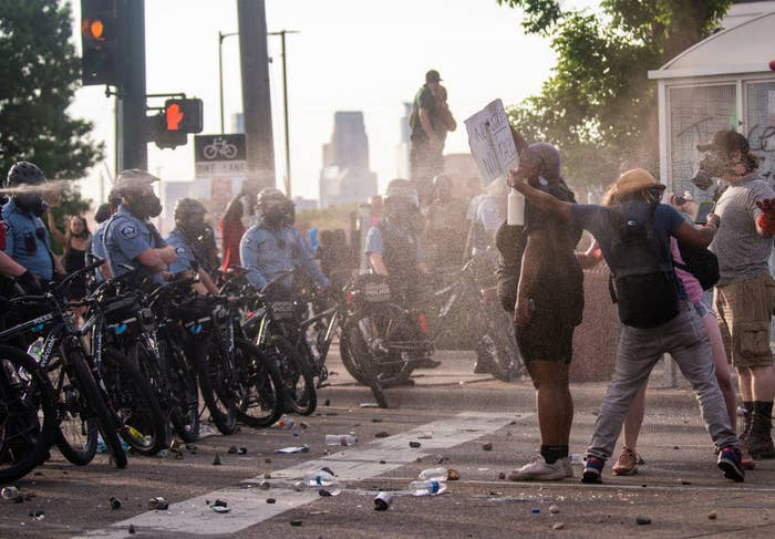Police spraying Black Lives Matter protestors with deterrants