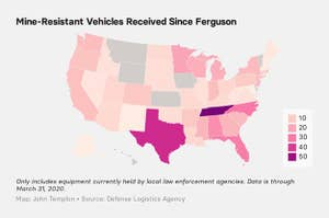 US map of transfers of mine-resistant vehicles since Ferguson