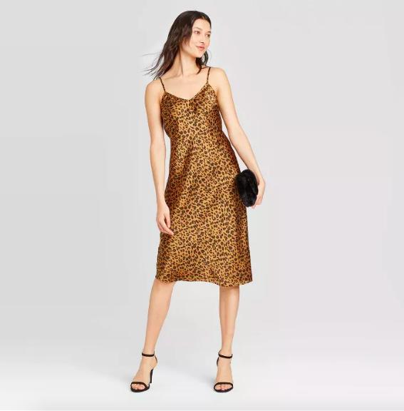 A spaghetti strap, knee-length dress