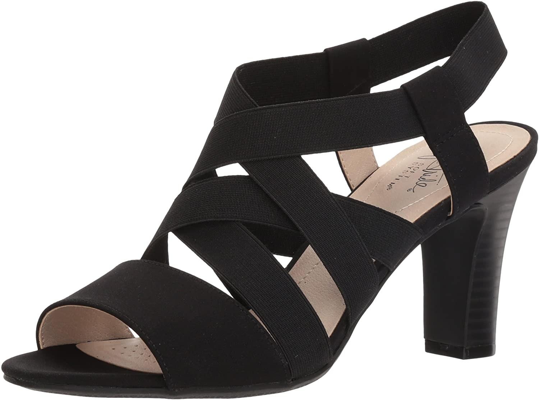 the strappy heels in black with block heel