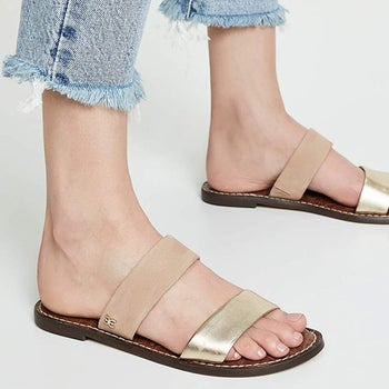 feet in shoes with gold bands
