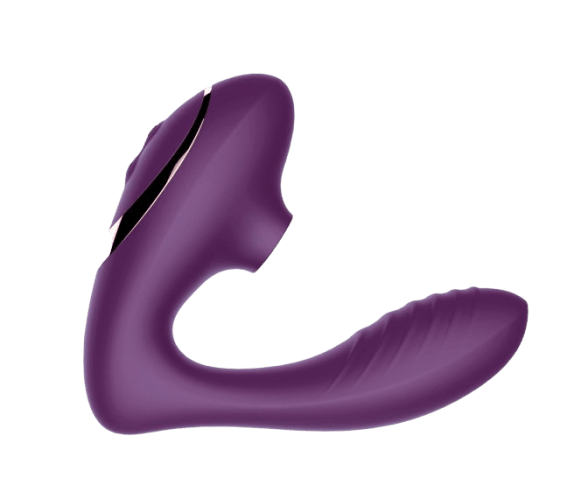 The purple toy, with a girthy, ridged insertable end curved slightly upwards