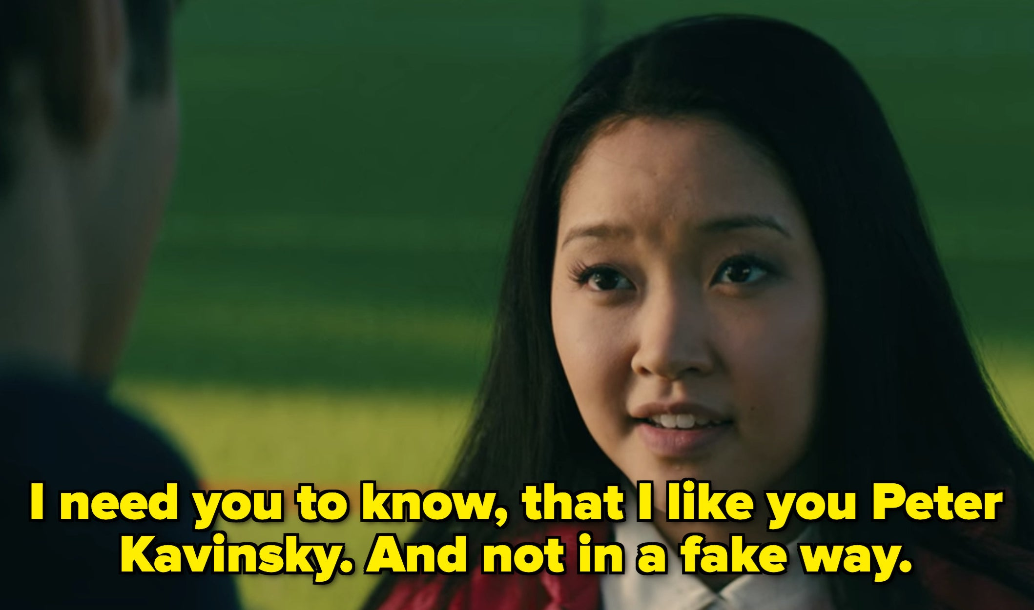 Lara Jean telling Peter that she likes him, and not in a fake way.