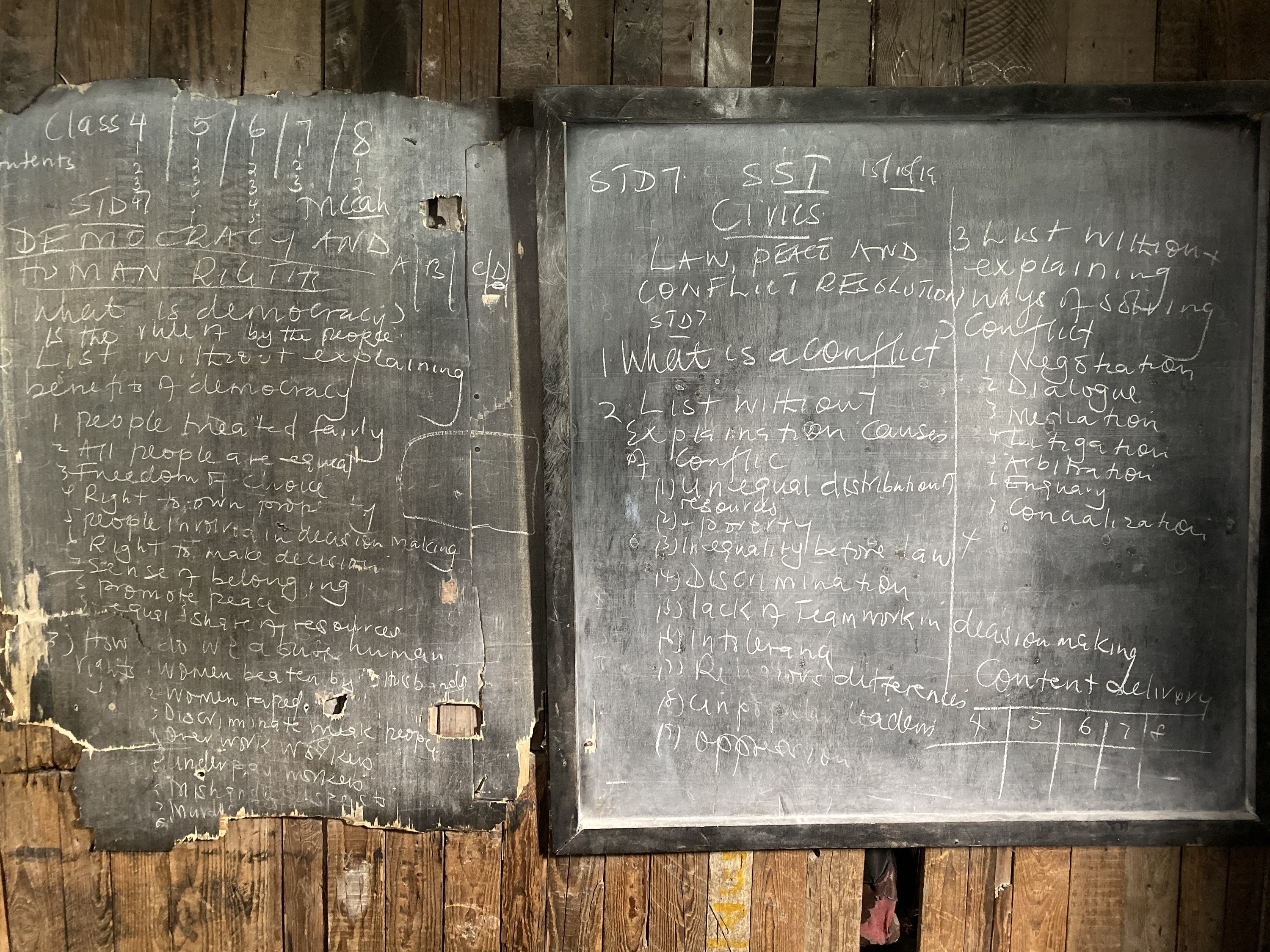 Shoddy blackboards with scrawled lessons about civics and human rights.