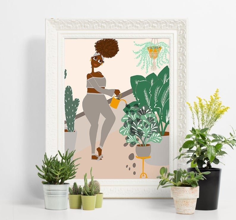 animated image of a woman watering the plants in her house