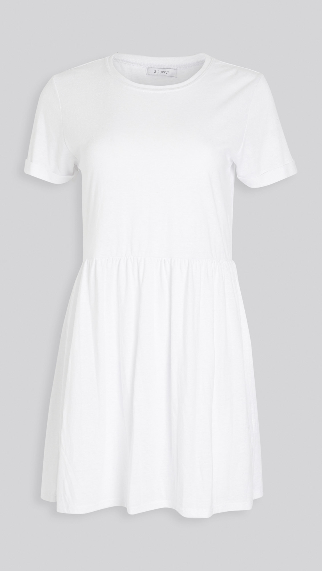the white jersey knit dress with a crewneck cut and ciuffed T-shirt sleeves