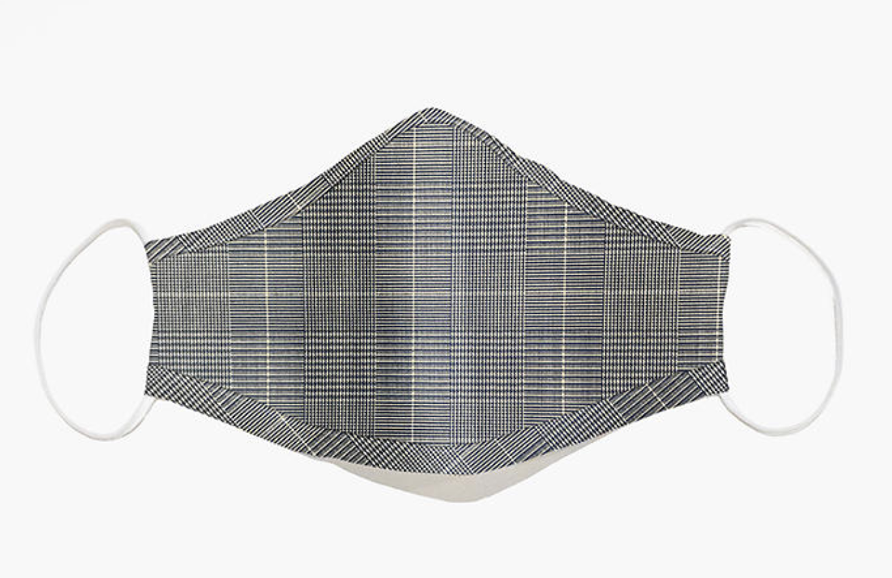 A plaid fabric mask