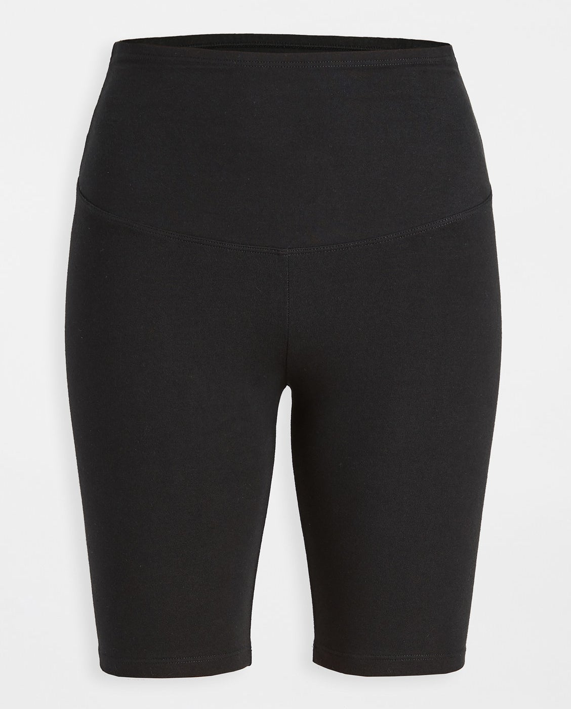 black compression shorts that hit mid-thigh in length