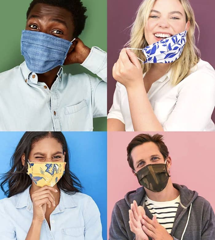 Four models in masks in a variety of prints