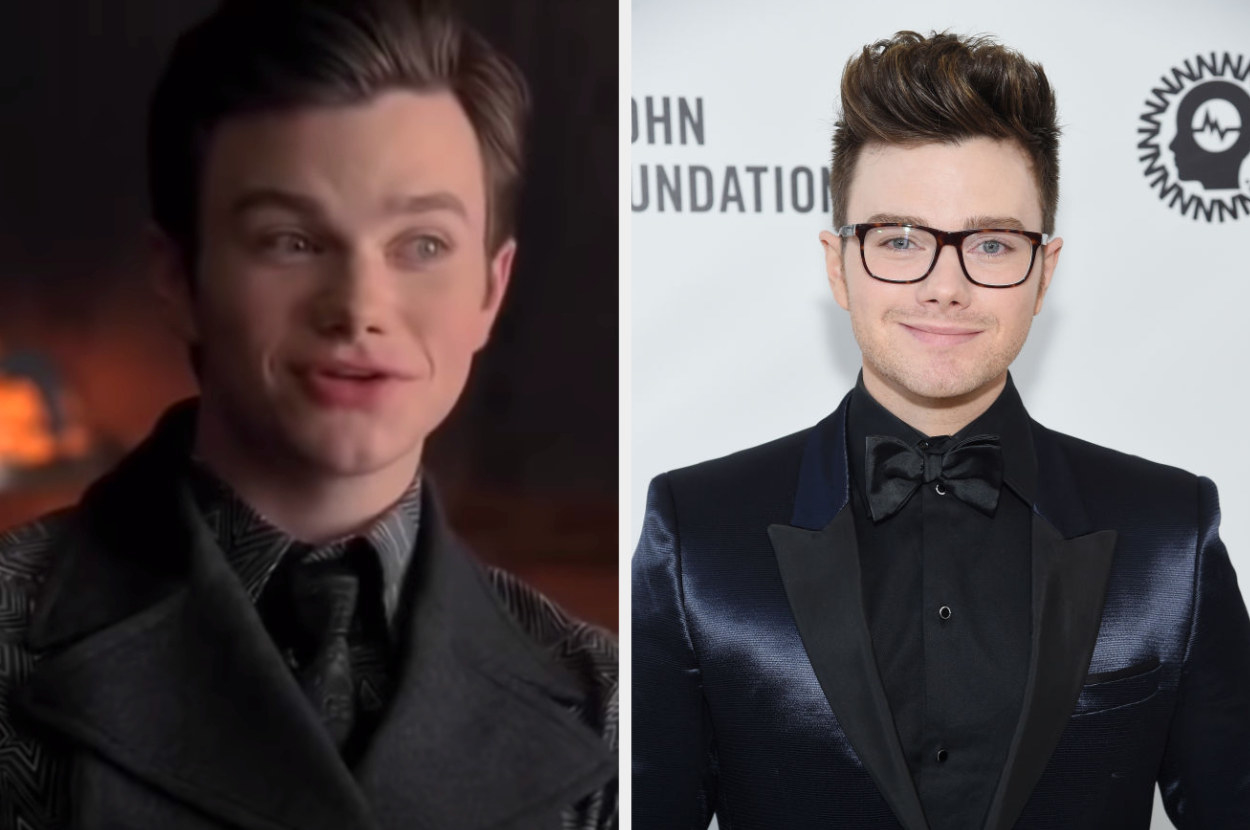 Side by side of Kurt Hummel from Glee and Chris Colfer