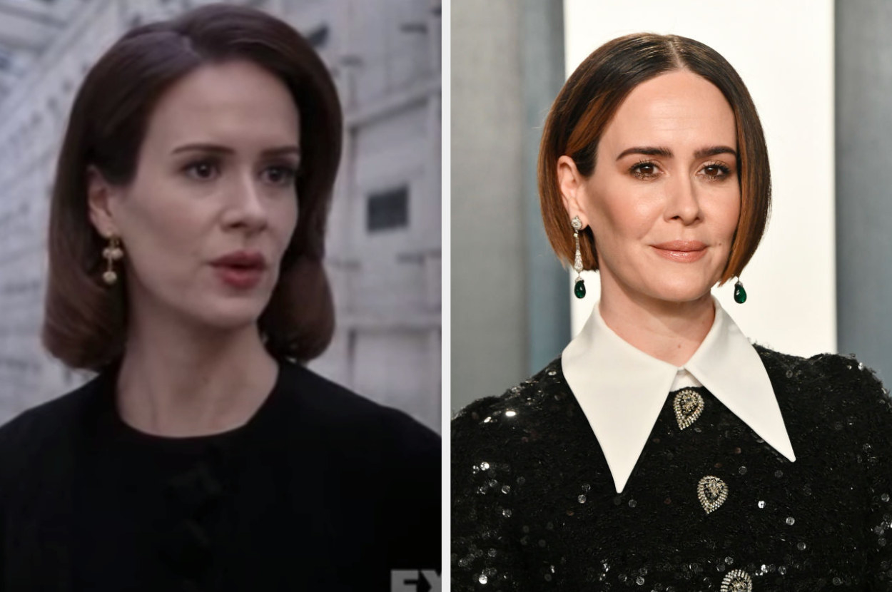 Side by side of Lana Winters from American Horror Story: Asylum and Sarah Paulson