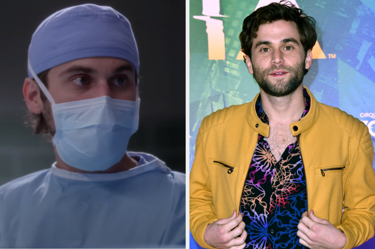 Side by side of Levi Schmidt from Grey's Anatomy and Jake Borelli
