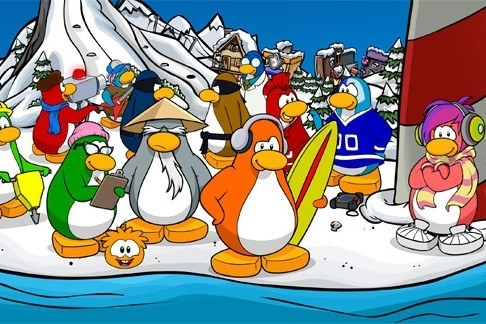 A variety of cartoon penguins with different professions on the game Club Penguin