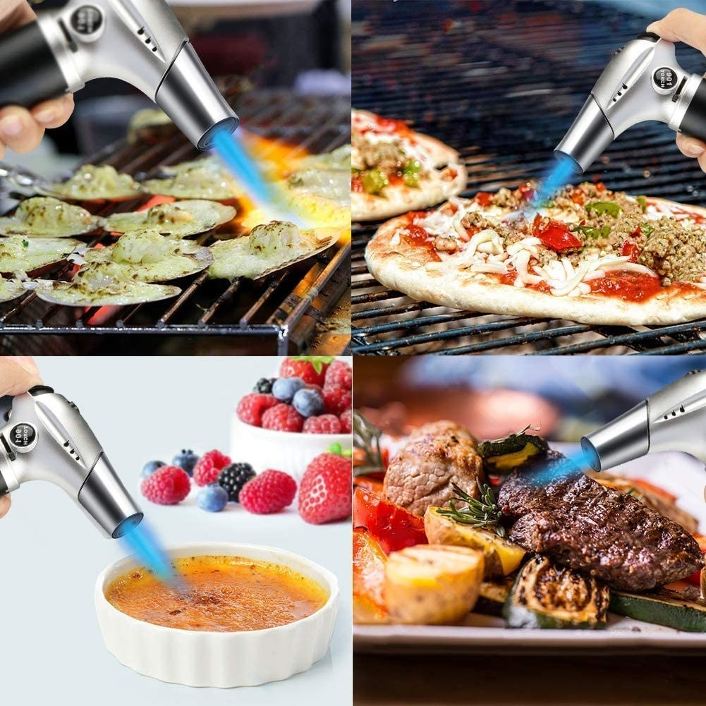 A flow torch torching pizza vegetables and desserts
