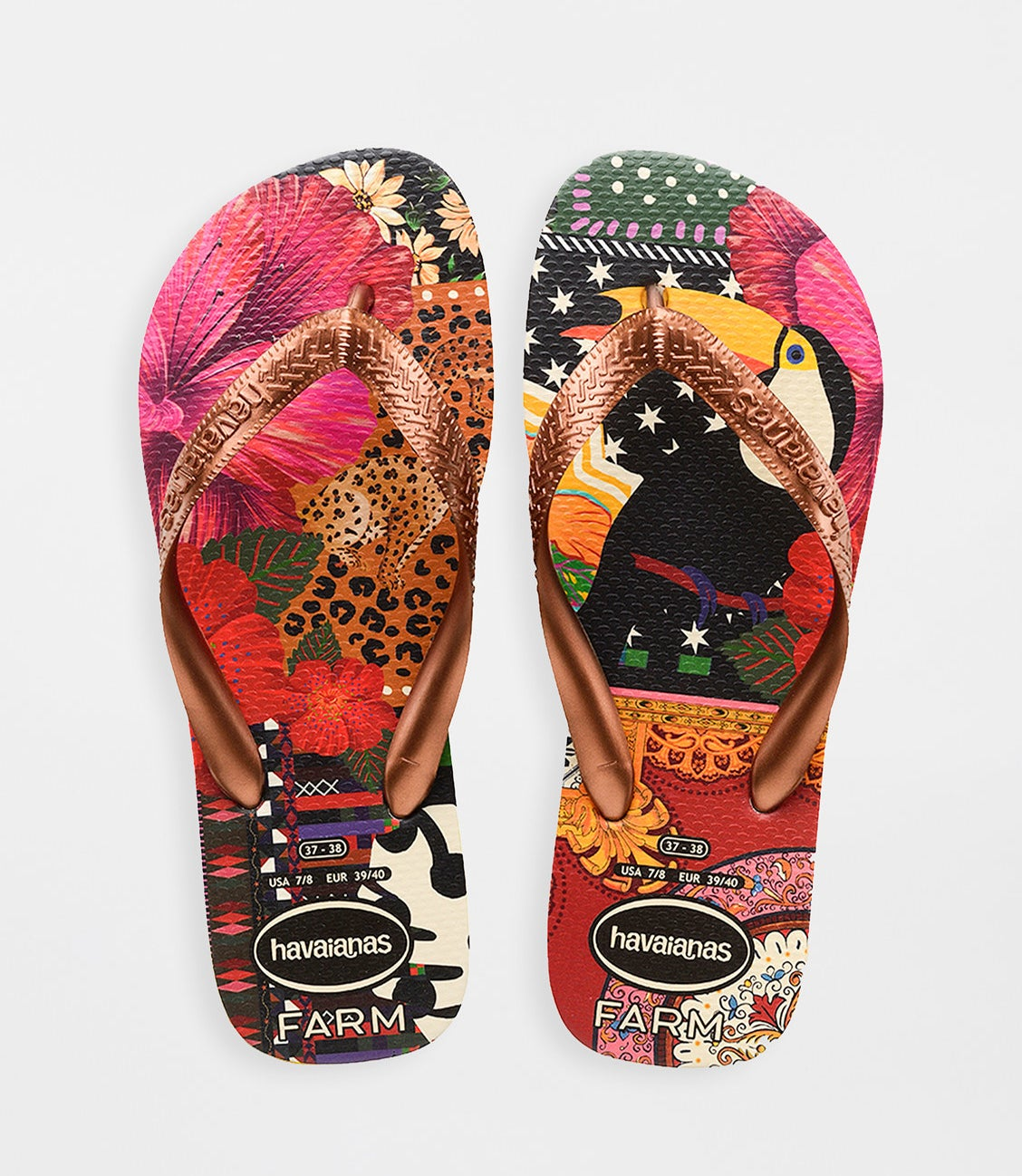 flip flops with brightly colored foot bases including a leopard, a toucan, and various designs with gold metallic straps