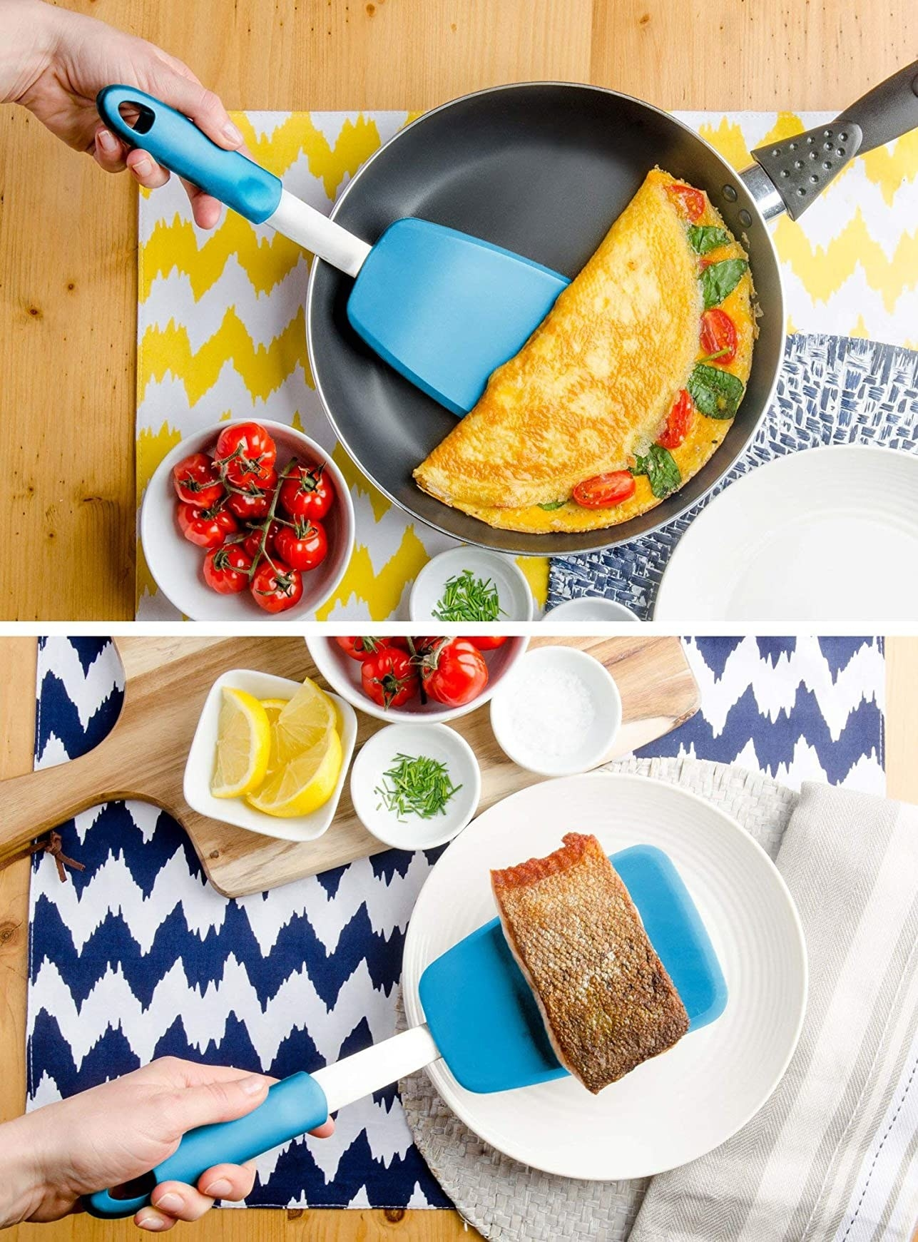 Hand using the blue extra-large spatula to flip an omelette and a piece of salmon