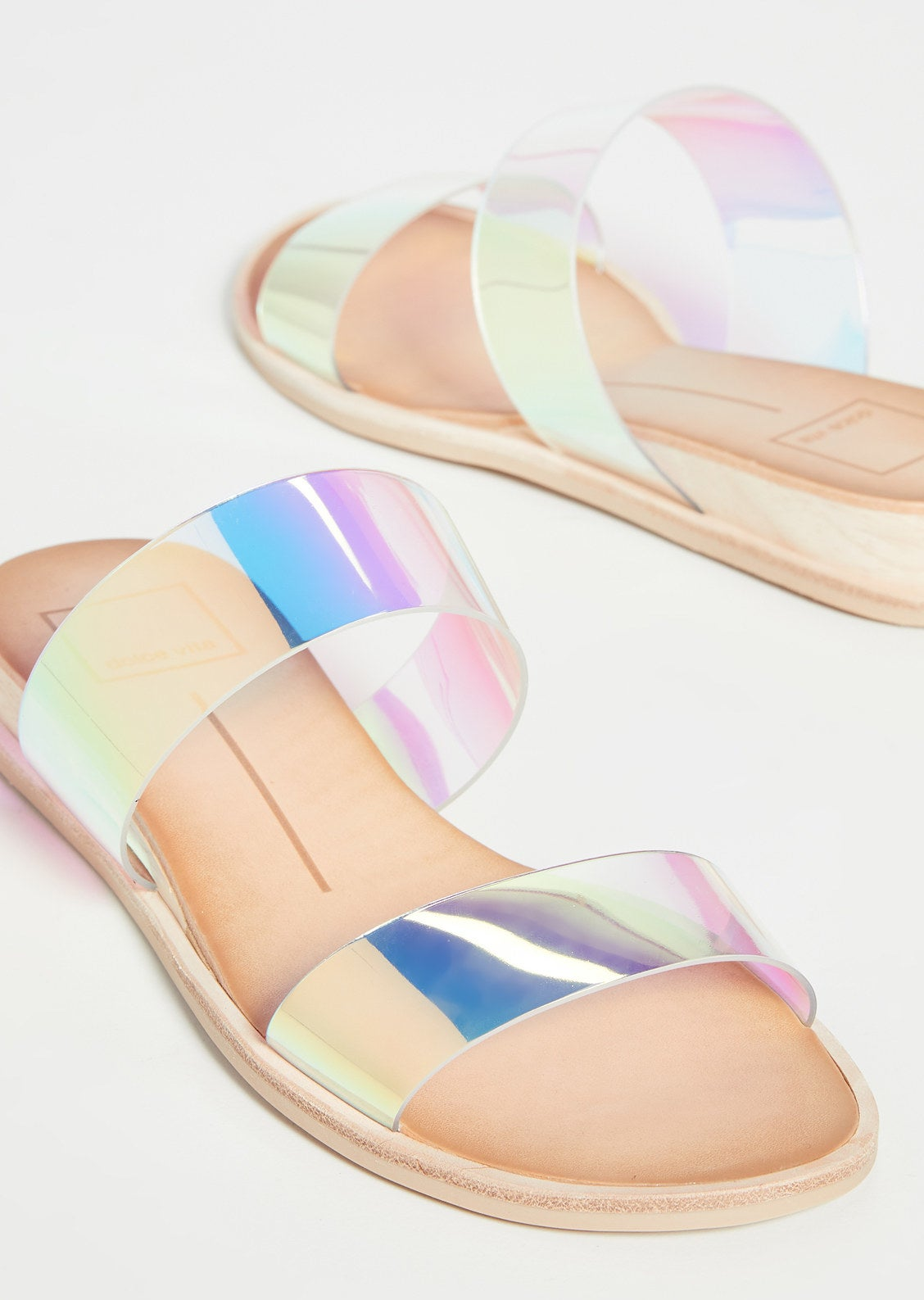 the sandals with two iridescent straps