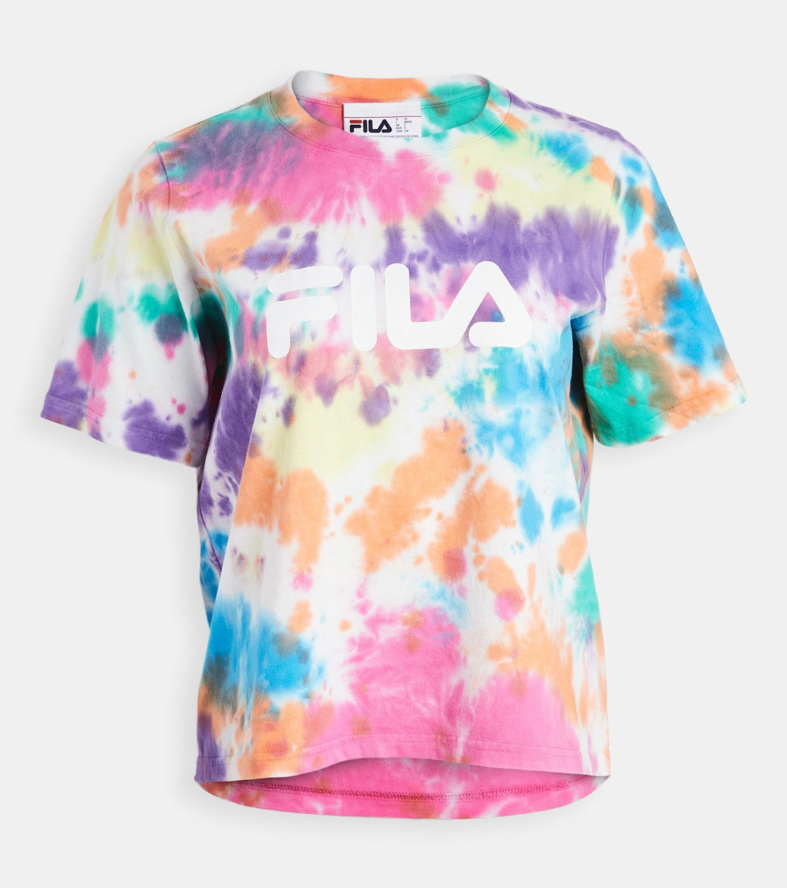the shirt with the fila logo on it in white and tie-dye in purple, orange, pink, blue, green, and yellow