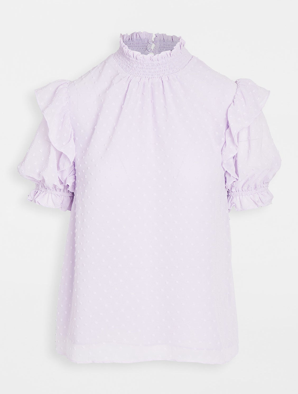 the lavender shirt with ruffled short sleeves with elastic cuffs and tiny polka-dot like embroidery throughout