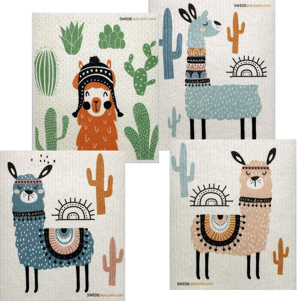 The llama dishcloths