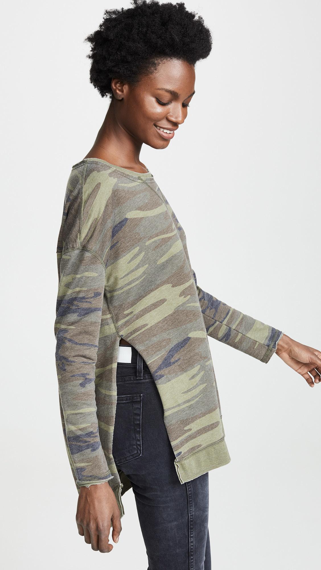 a model wearing the long sleeve green camo top